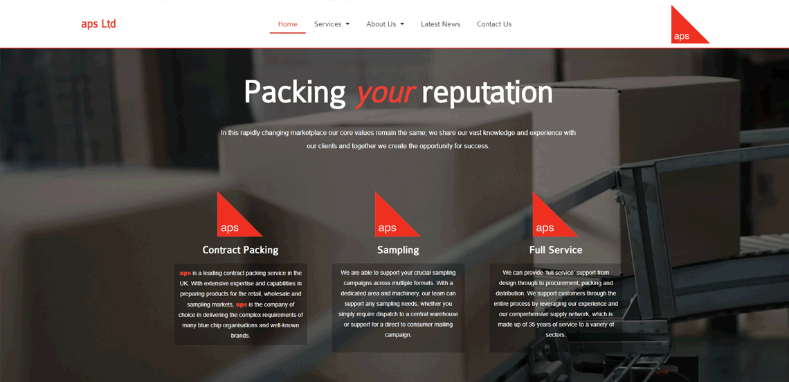 aps Ltd Local Northumberland Web Design Project