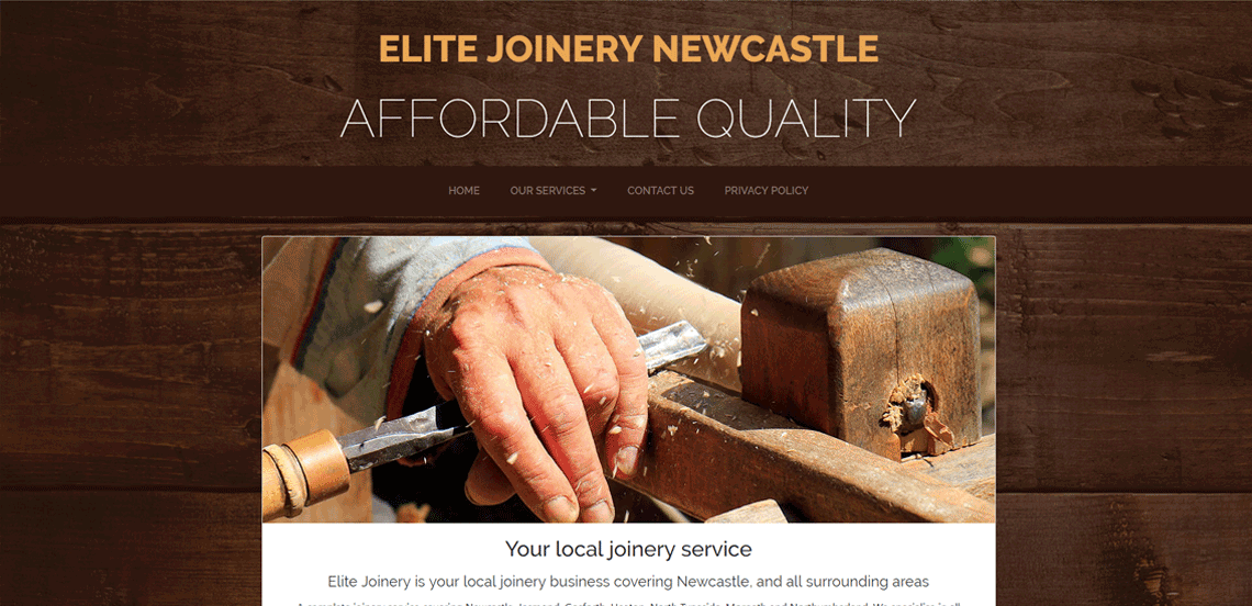 Elite Joinery - Local Northumberland Web Design Project