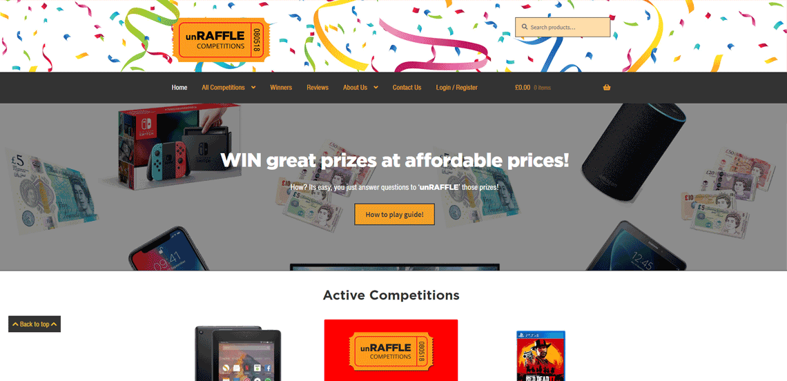 unRAFFLE COMPETITIONS- UK Ecommerce Web Design Project